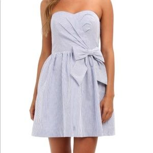 Lily Pulitzer Seersucker strapless bow dress